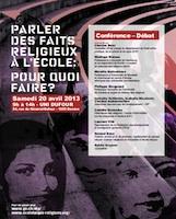 Affiche de la conférence-débat du 20 avril 2013